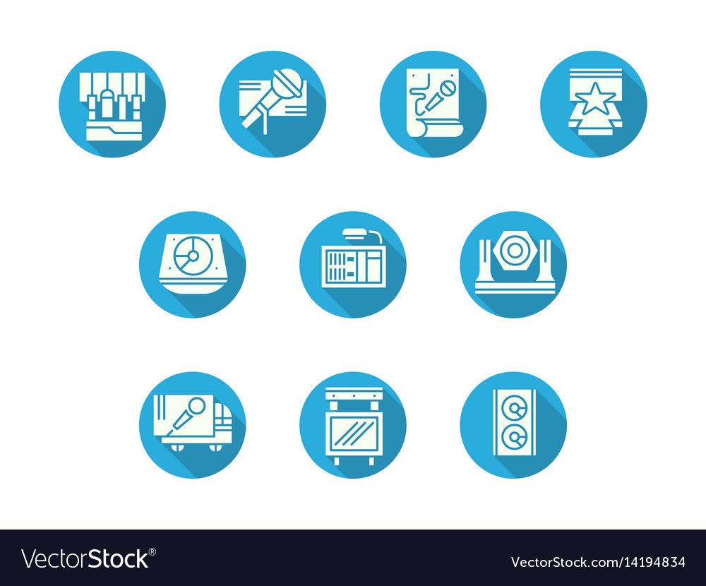 Technics for stage round flat color icons vector image