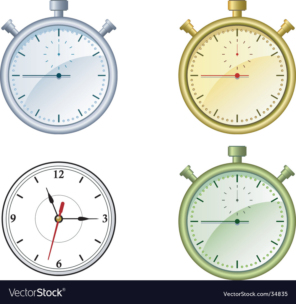 Clock and stop watch vector image