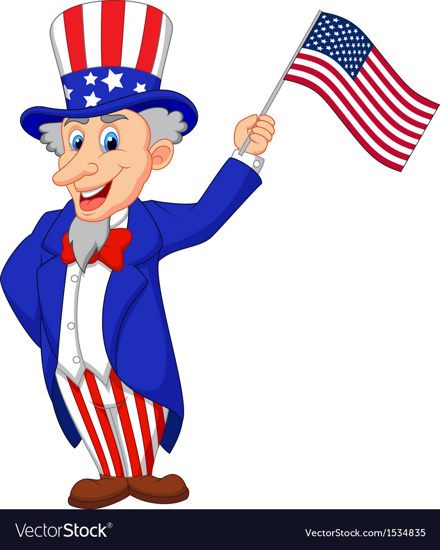 Uncle Sam Cartoon Holding American Flag Royalty Free Vector