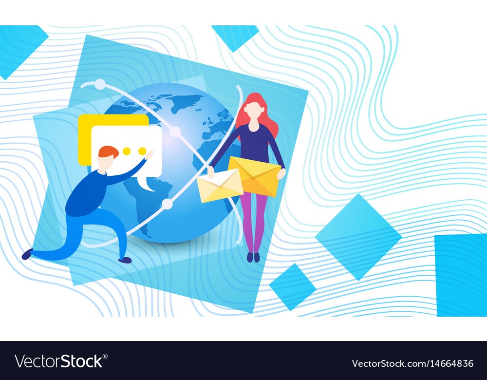 People group holding envelope message social vector image