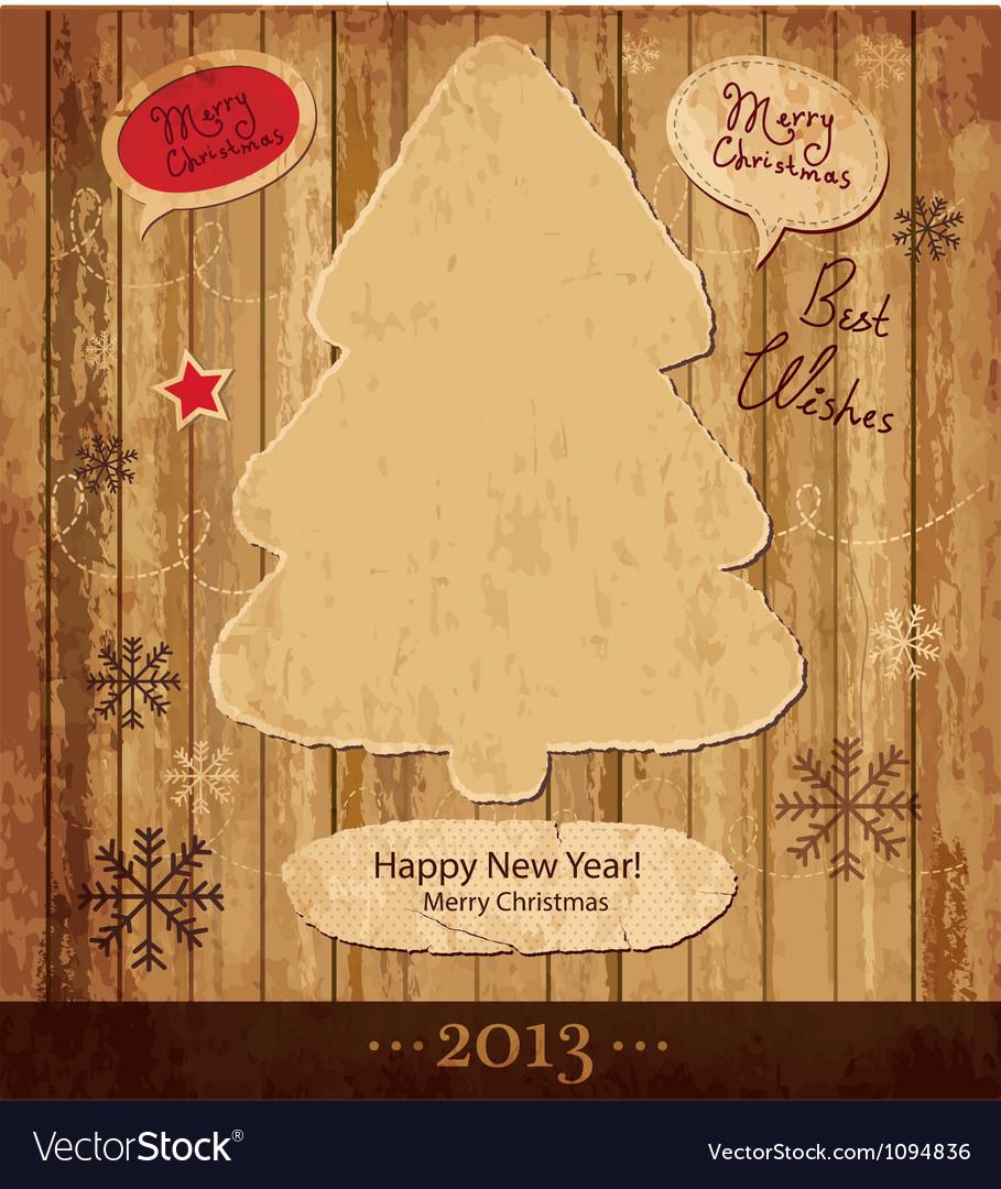 Vintage Xmas tree card vector image