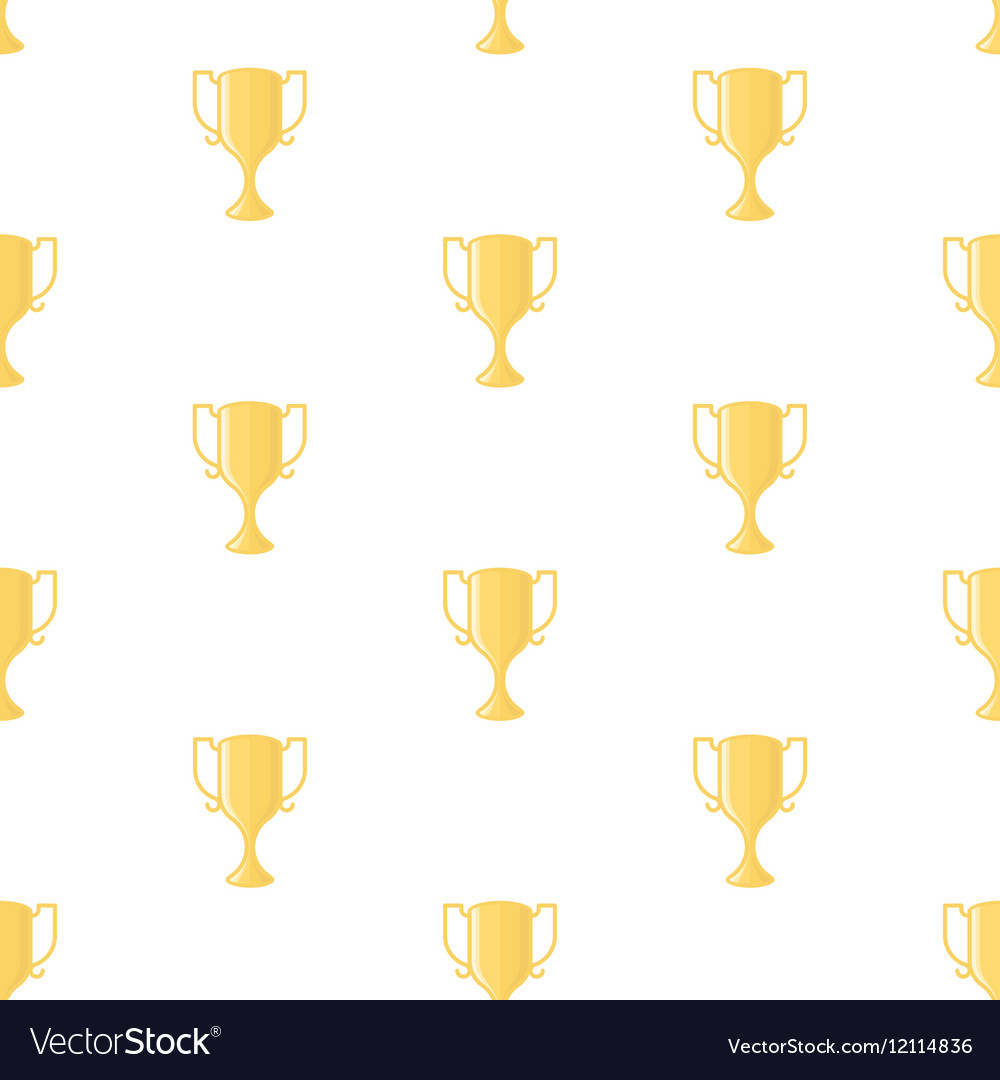 Winner cup trophy seamless pattern vector image