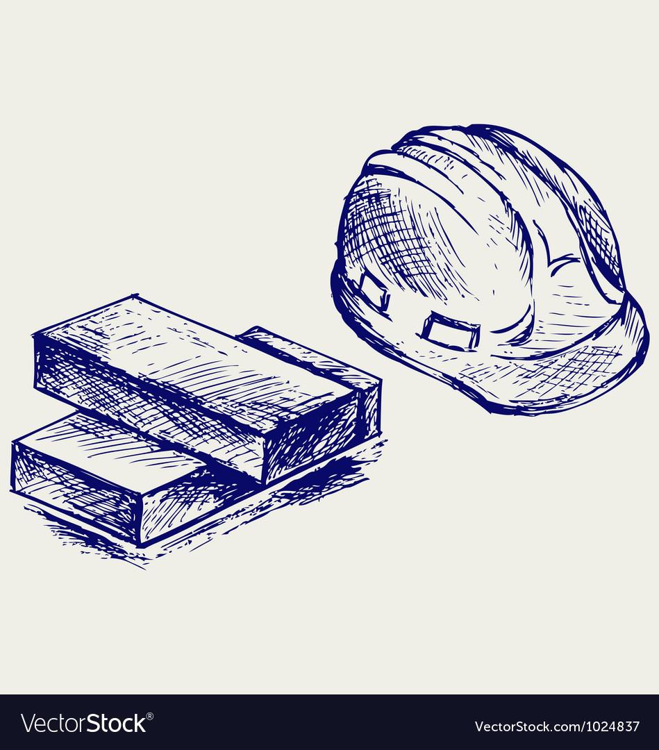 Hard hat and bricks vector image