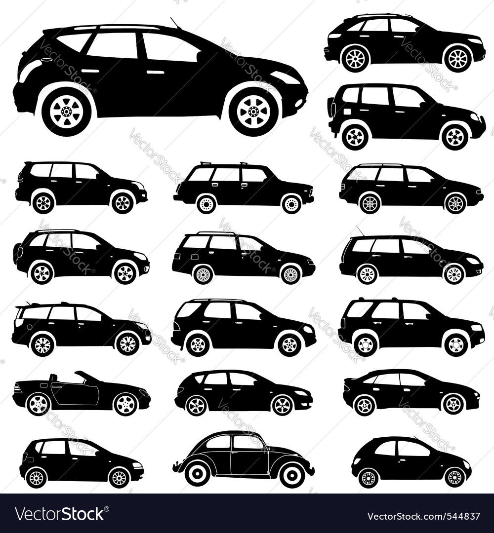 Large collection of silhouettes of cars element fo vector image