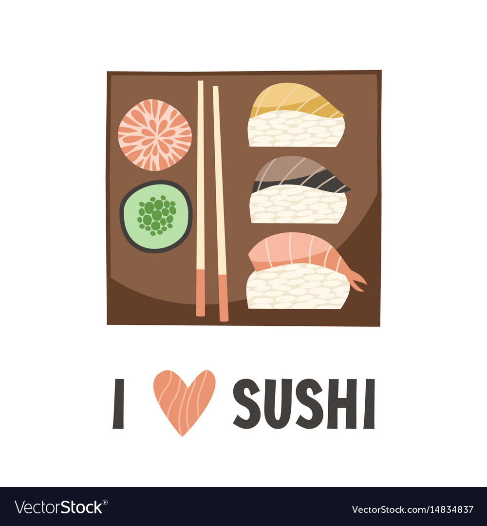 Sushi japanese food sushi roll vector image
