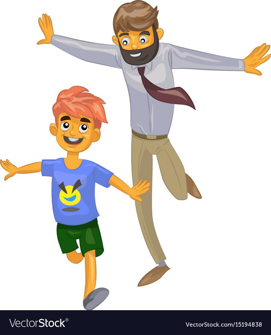 Cartoon man and his son on isolated background vector image