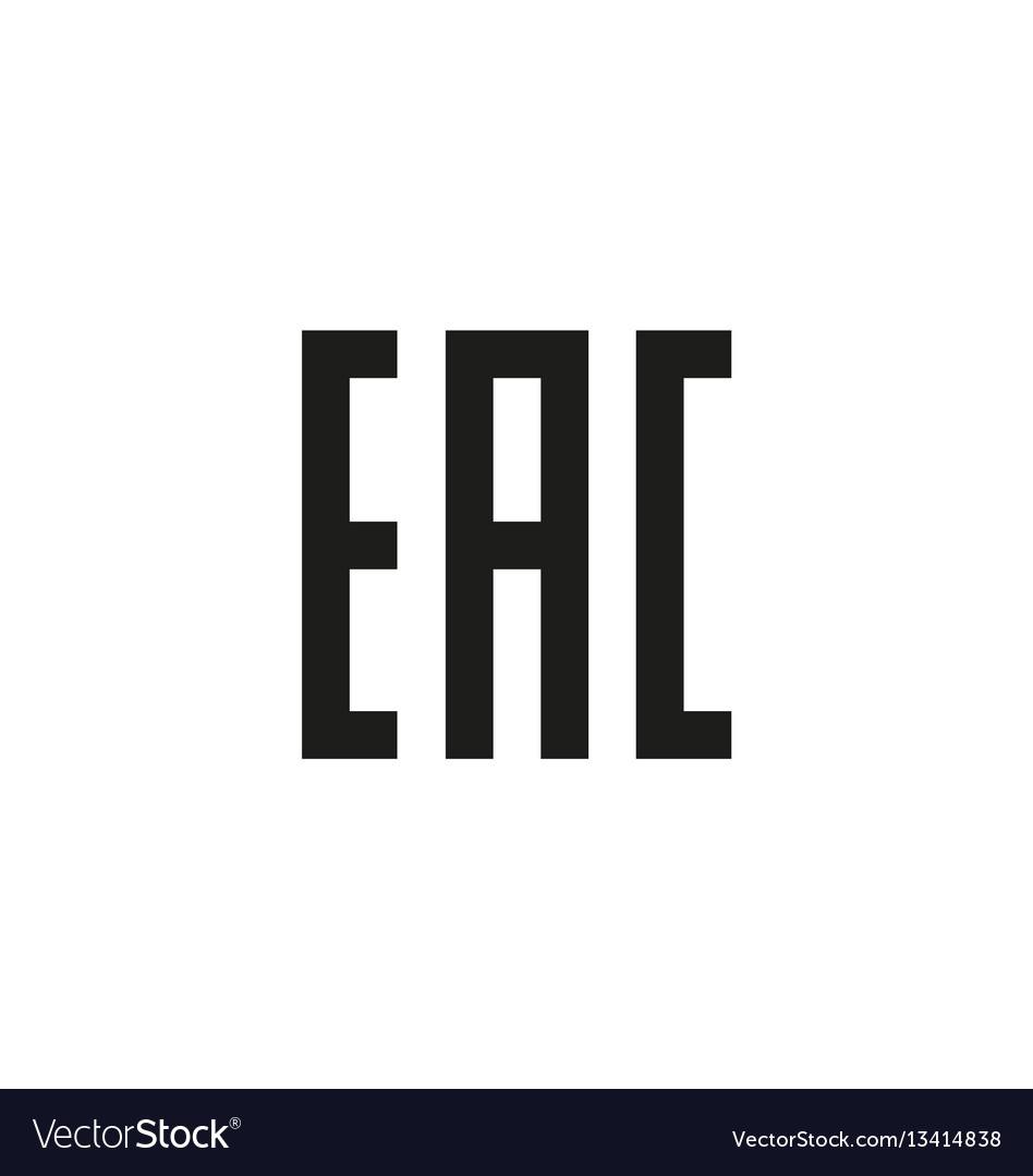 Eurasian conformity symbol on white background vector image