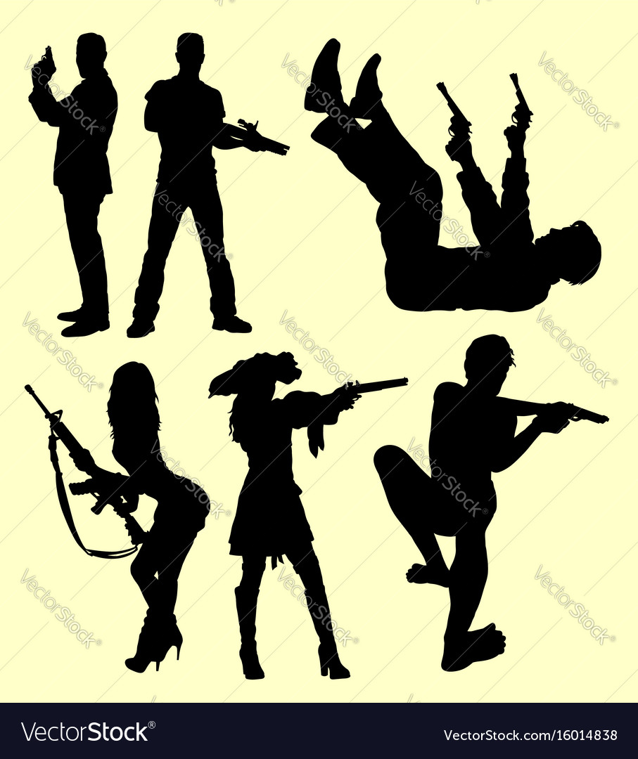 People using gun silhouette vector image