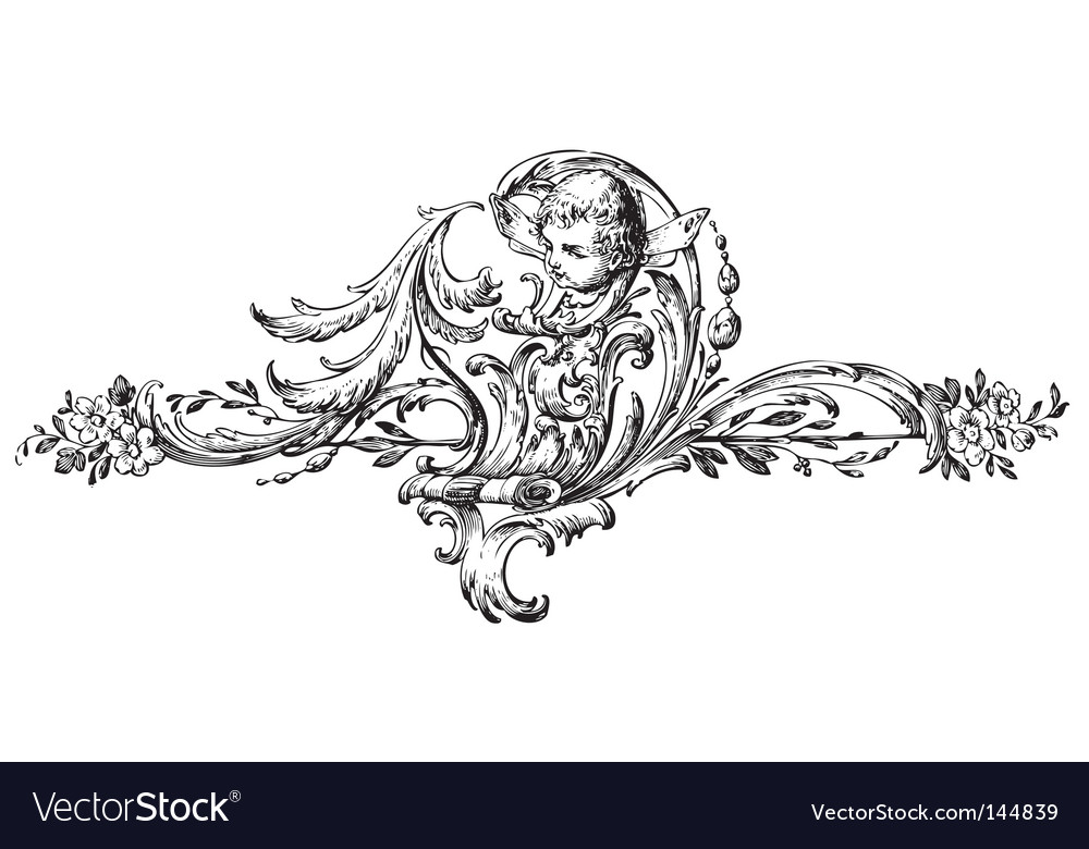 Antique floral scroll ornament engraving vector image