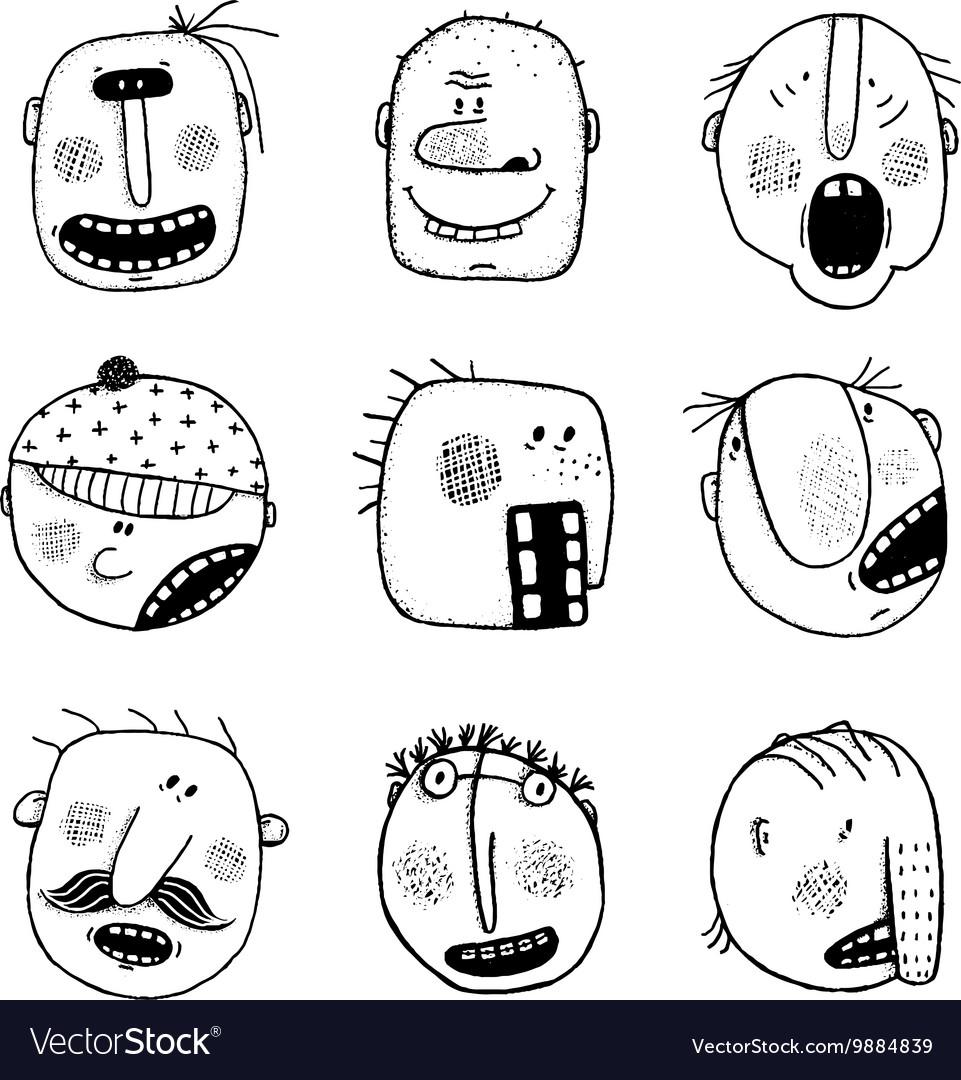 modern doodle drawing outline cartoon people faces vector image - Cartoon Outline Drawings