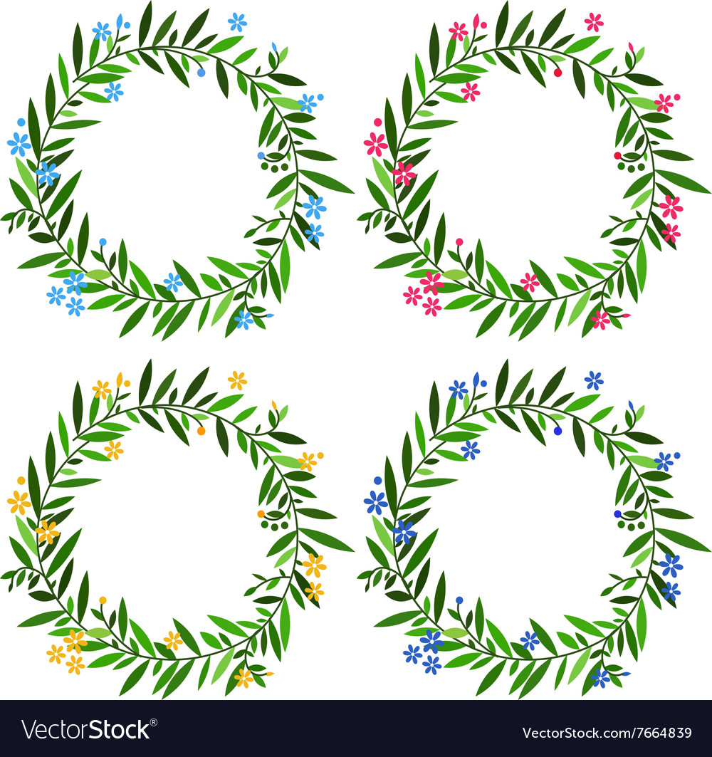 Set of round floral frames with spring flowers and vector image
