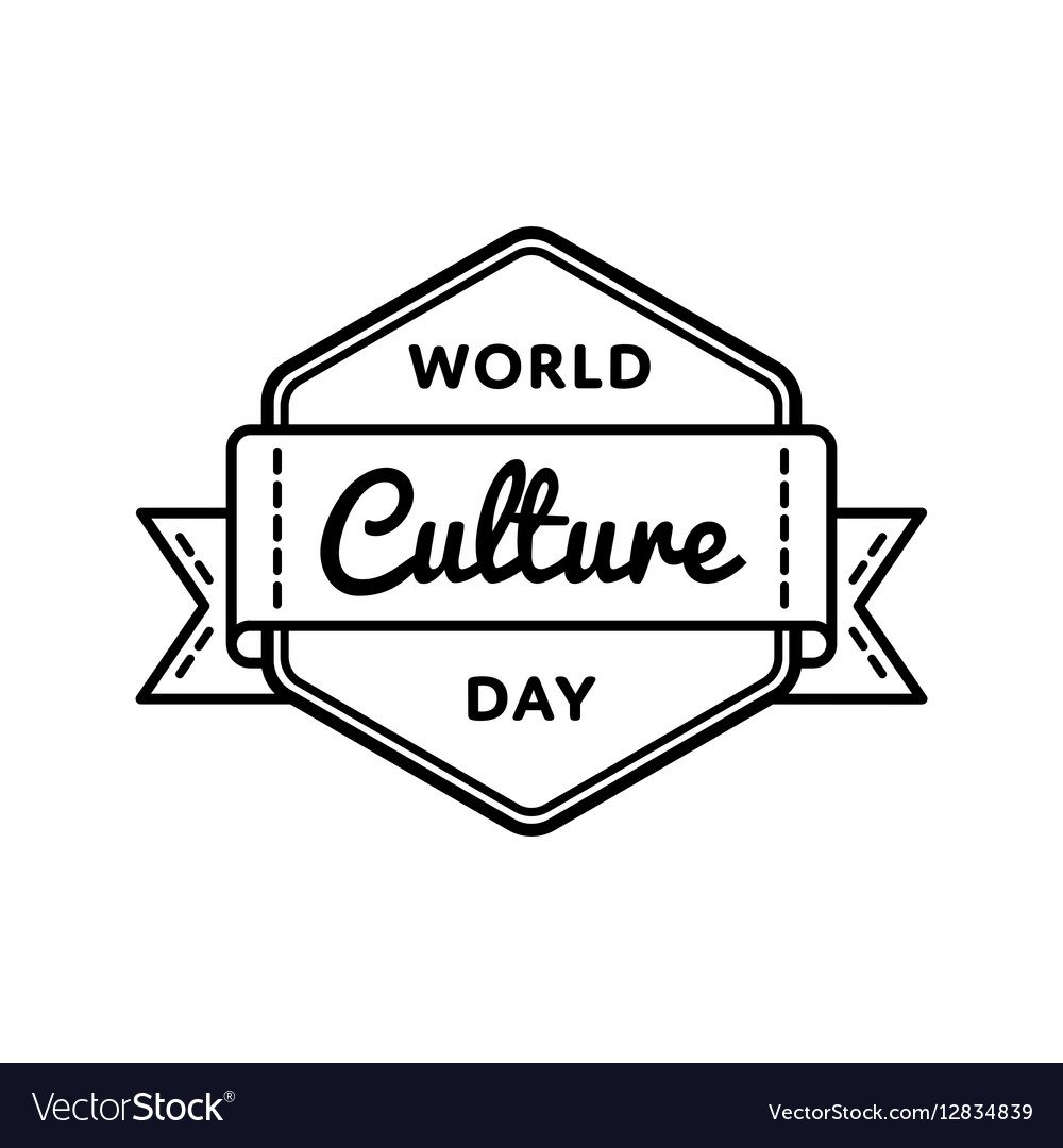 World Culture day greeting emblem vector image