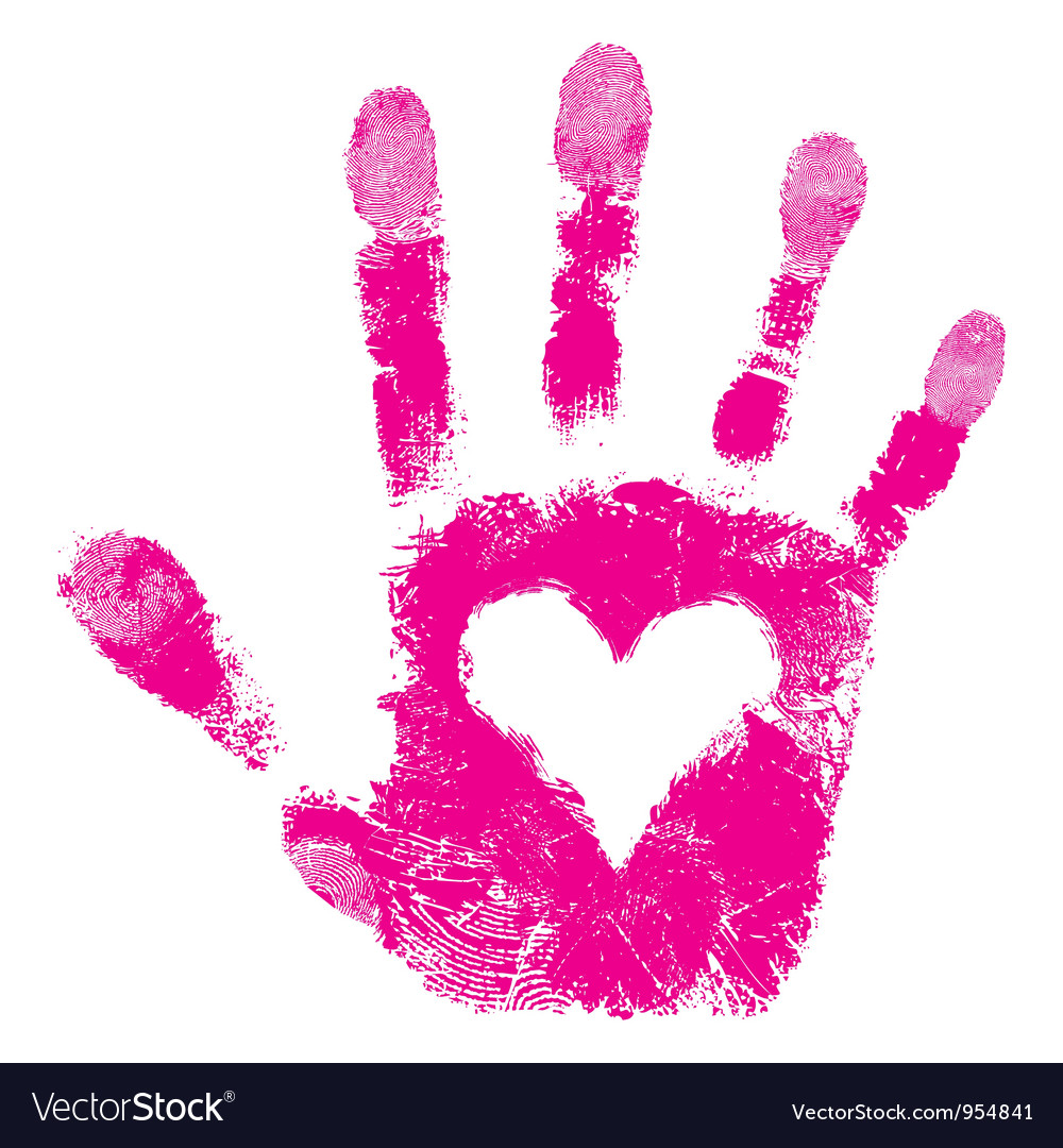 Heart in hand print people support vector image