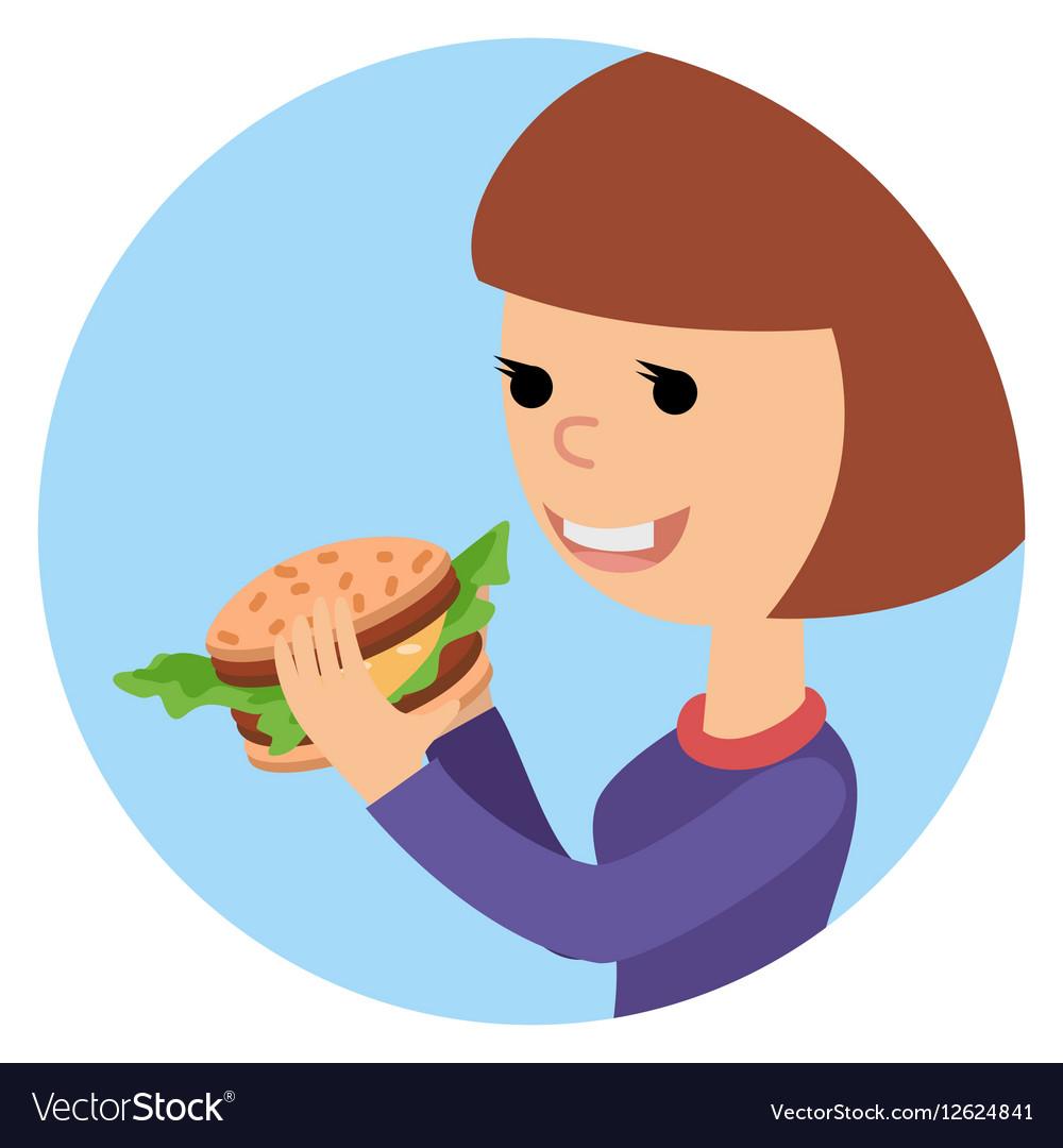 Girl eating sandwich on theme vector image