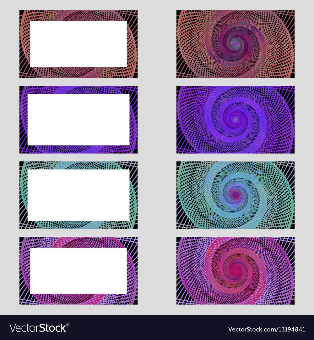 Spiral design business card frame set Royalty Free Vector
