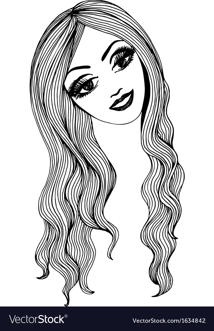 Artistic sketch of a beautiful girl for You vector image