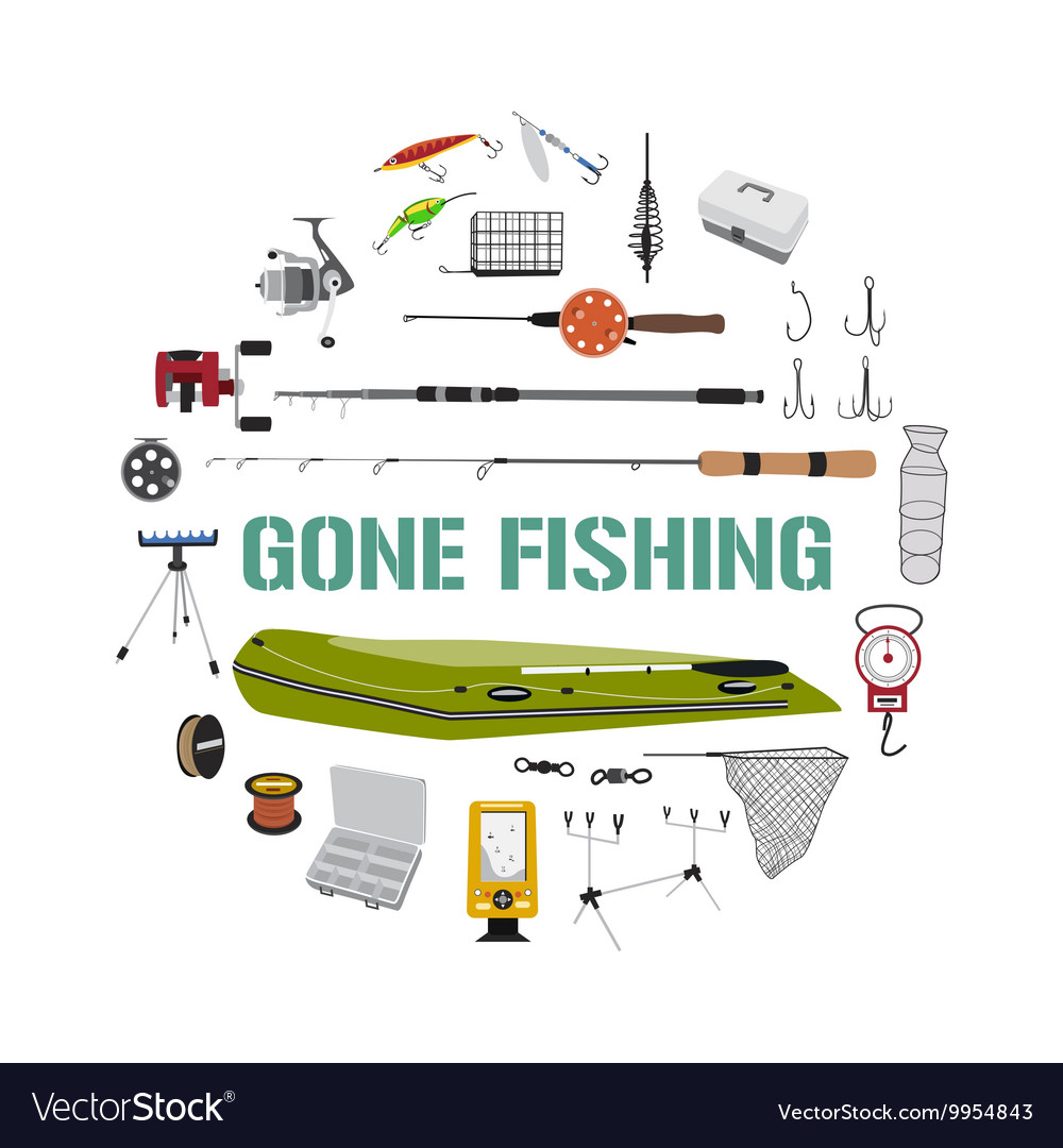 Gone fishing tackle icons round design concept vector image