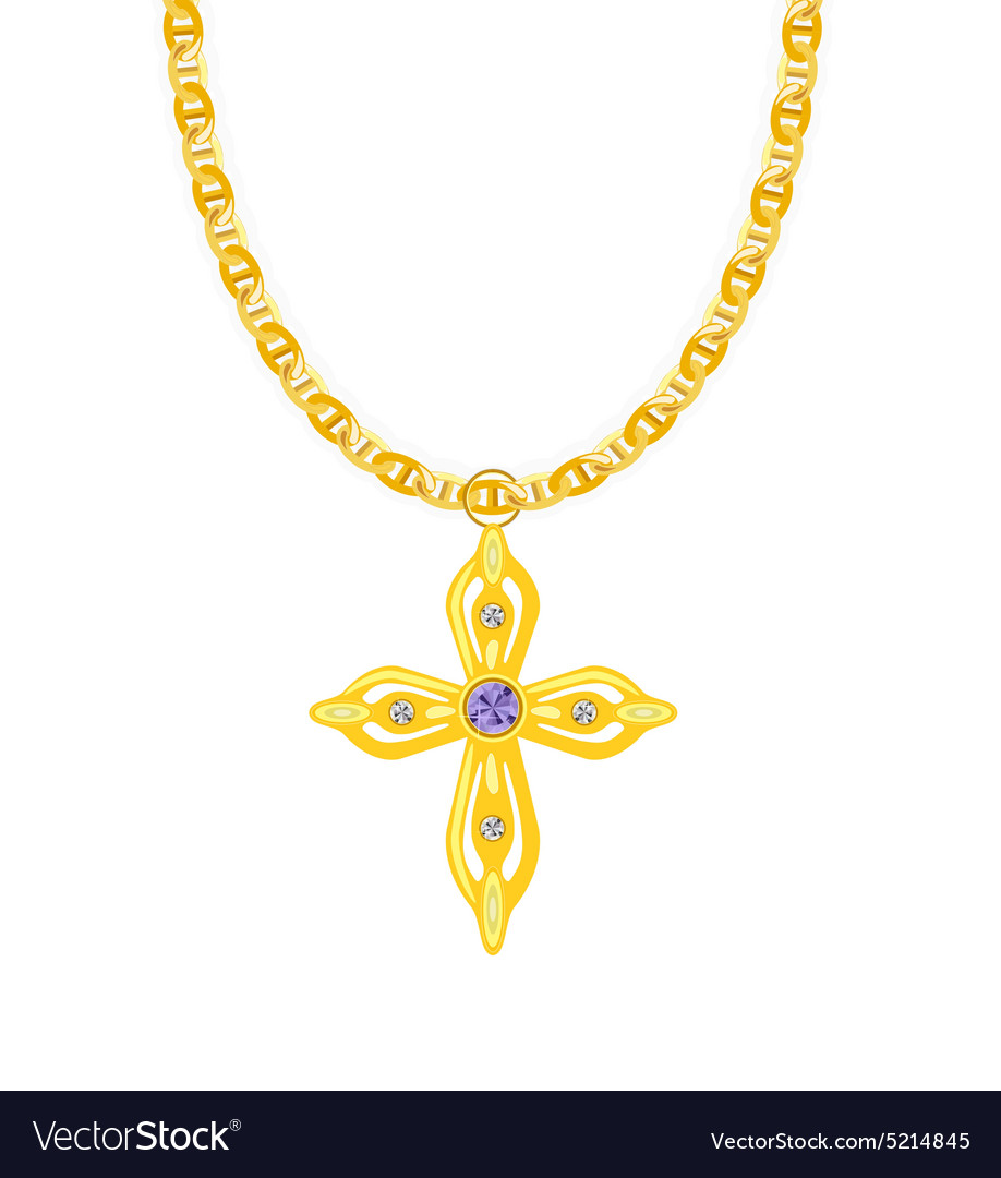 Gold Chain with Cross with Diamond vector image