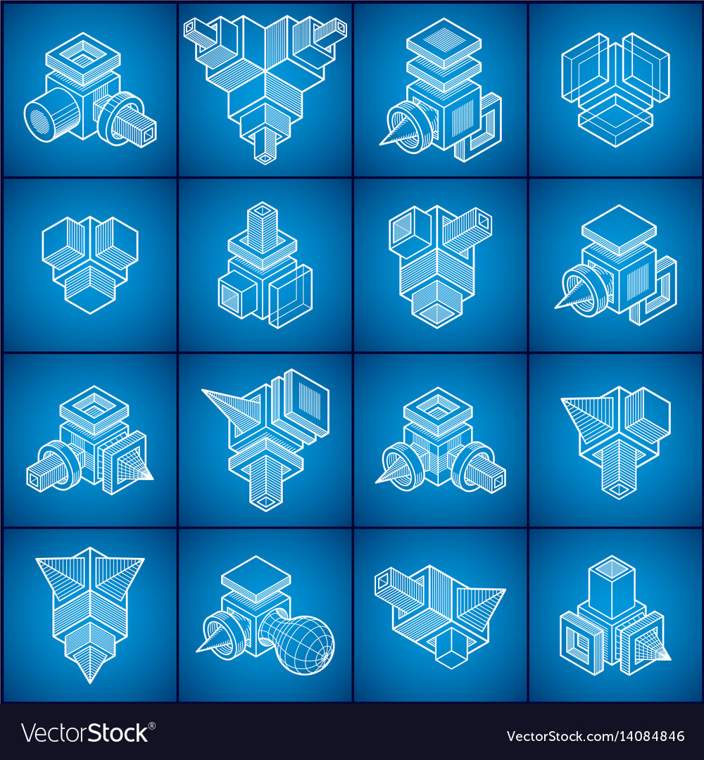 Engineering abstract shape set vector image