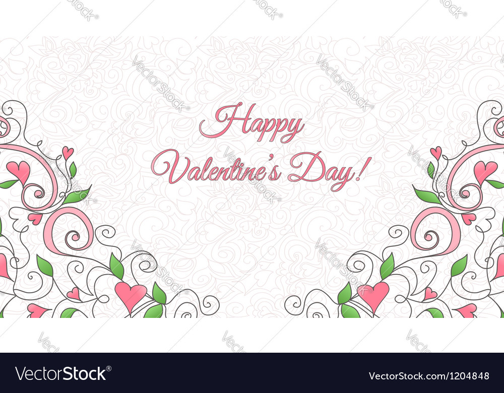 Valentines Day card with hearts ornament vector image