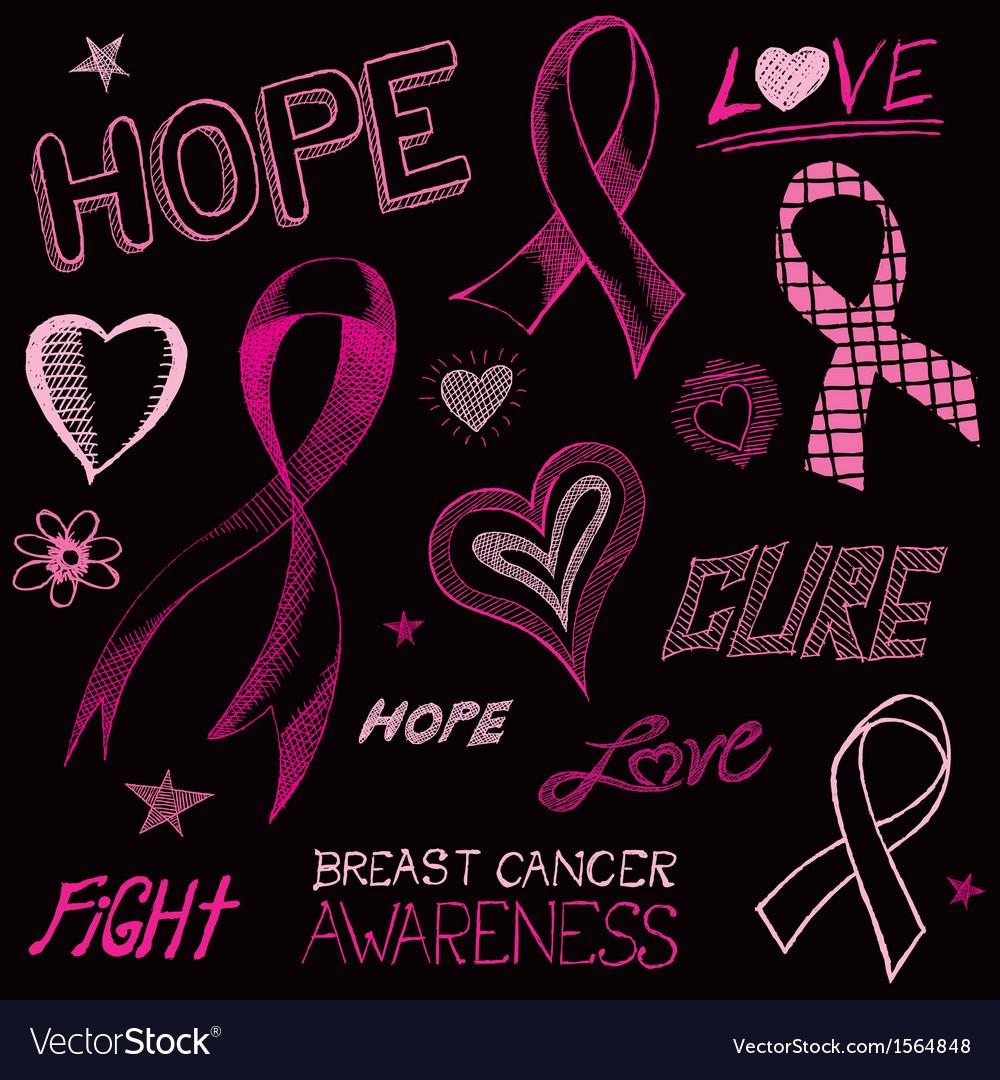 Breast Cancer Awareness Sketch vector image