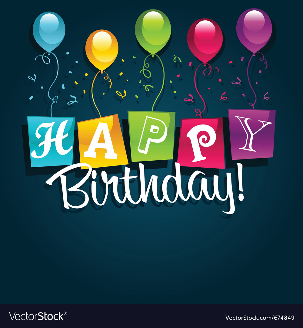 Happy birthday and balloons vector image