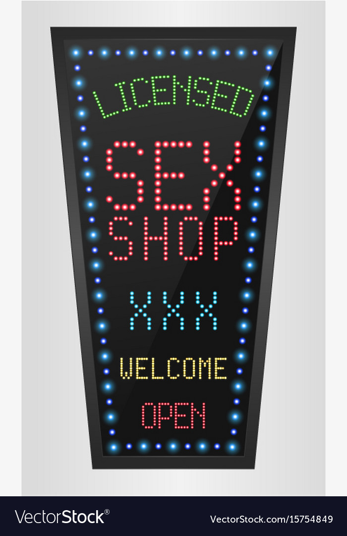 Shining retro light banner licensed sex shop vector image