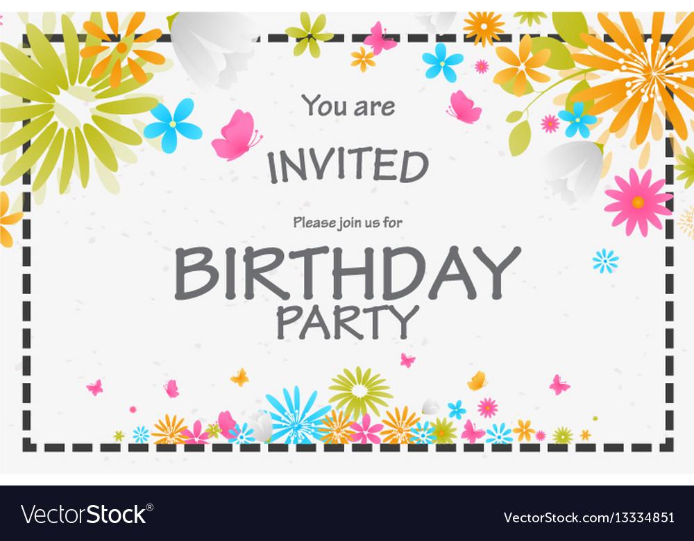 Birthday invitation card with beautiful flower vector image birthday invitation card with beautiful flower vector image stopboris Choice Image