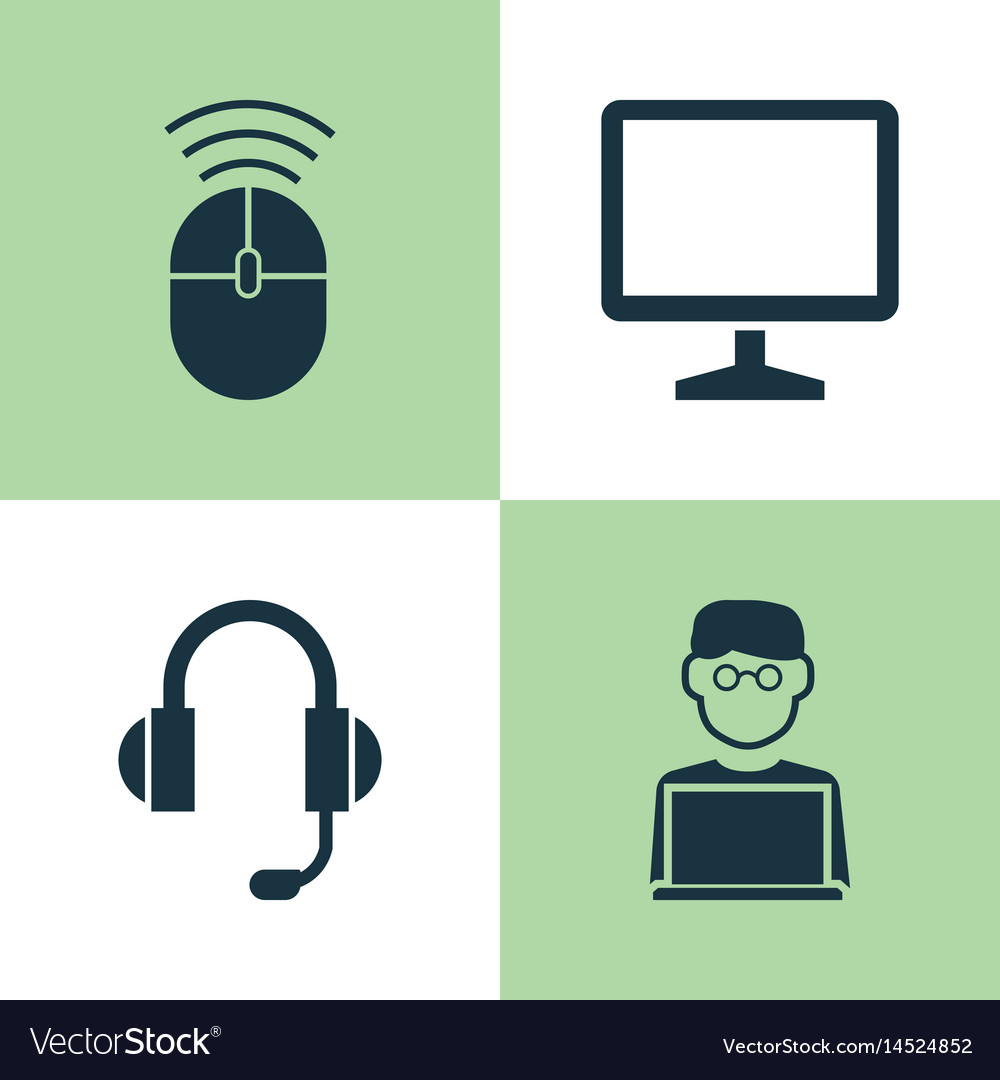 Notebook icons set collection of computer mouse vector image