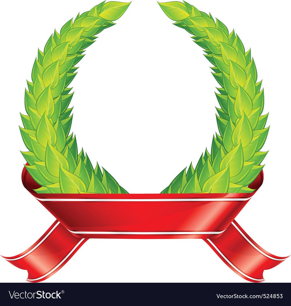 Green wreaths ribbon vector image