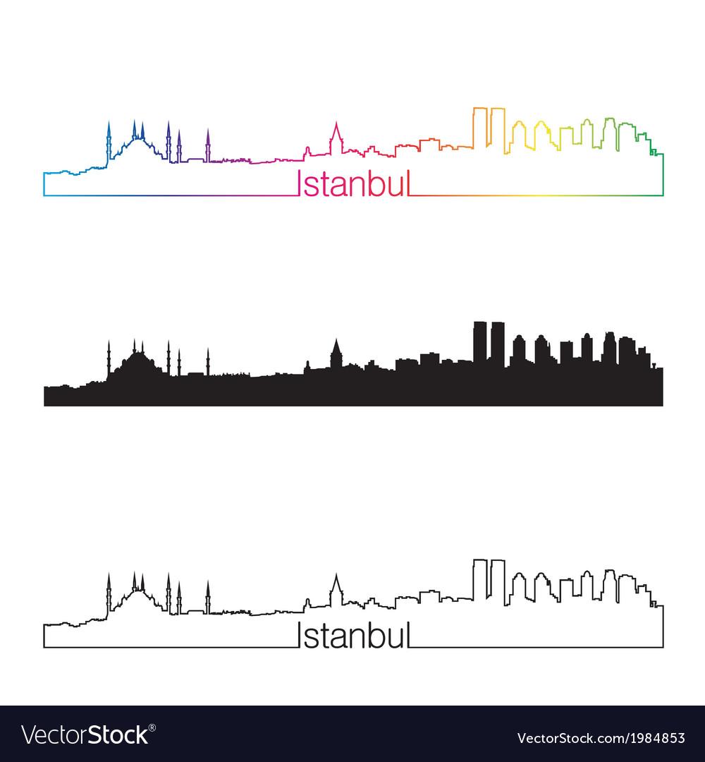 Istanbul skyline linear style with rainbow vector image