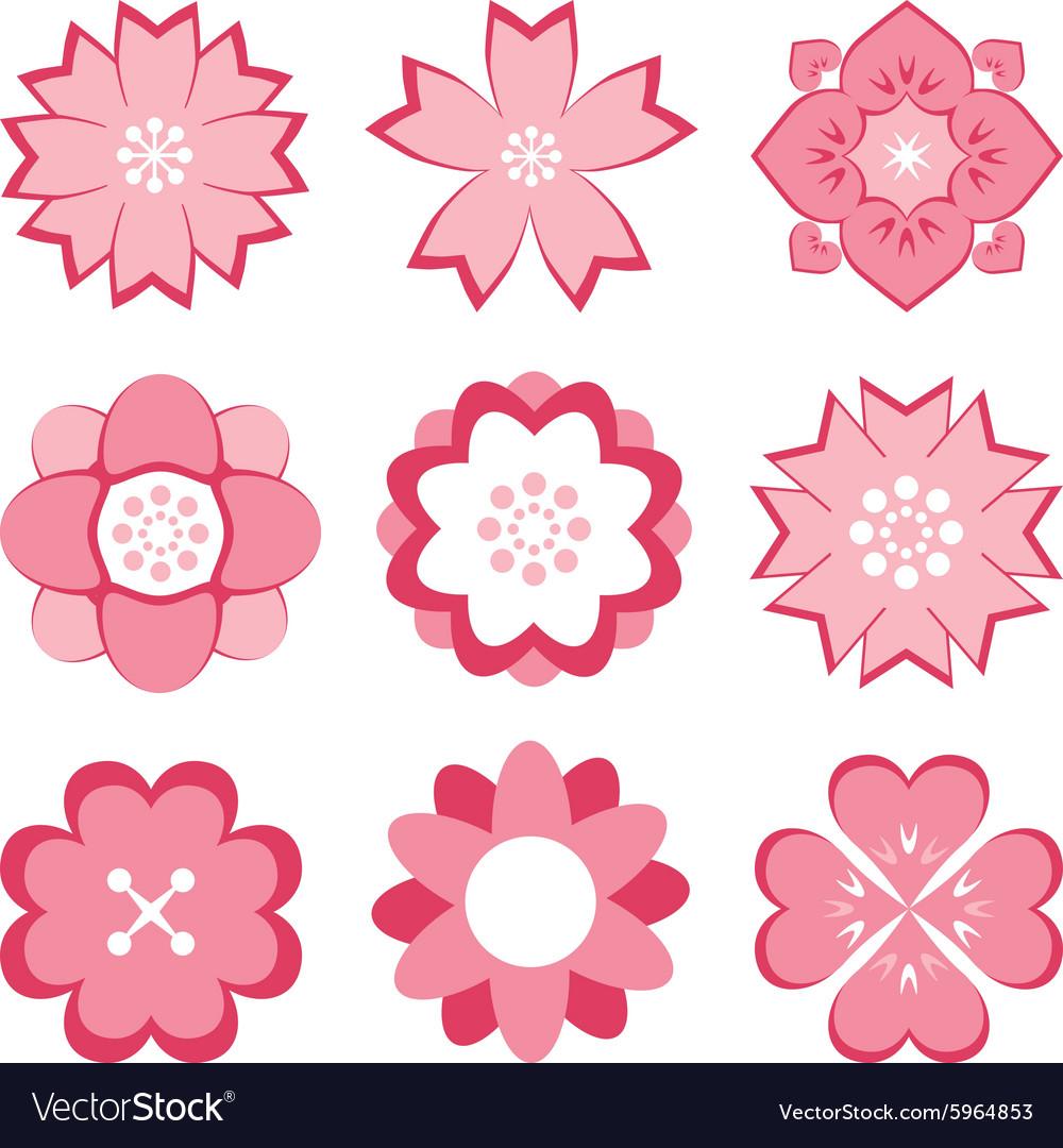 Pink flower symbol set royalty free vector image pink flower symbol set vector image biocorpaavc Choice Image