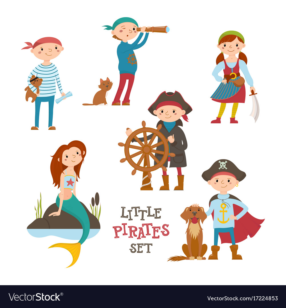 Set of cute little pirate sailor kids and mermaid vector image stopboris