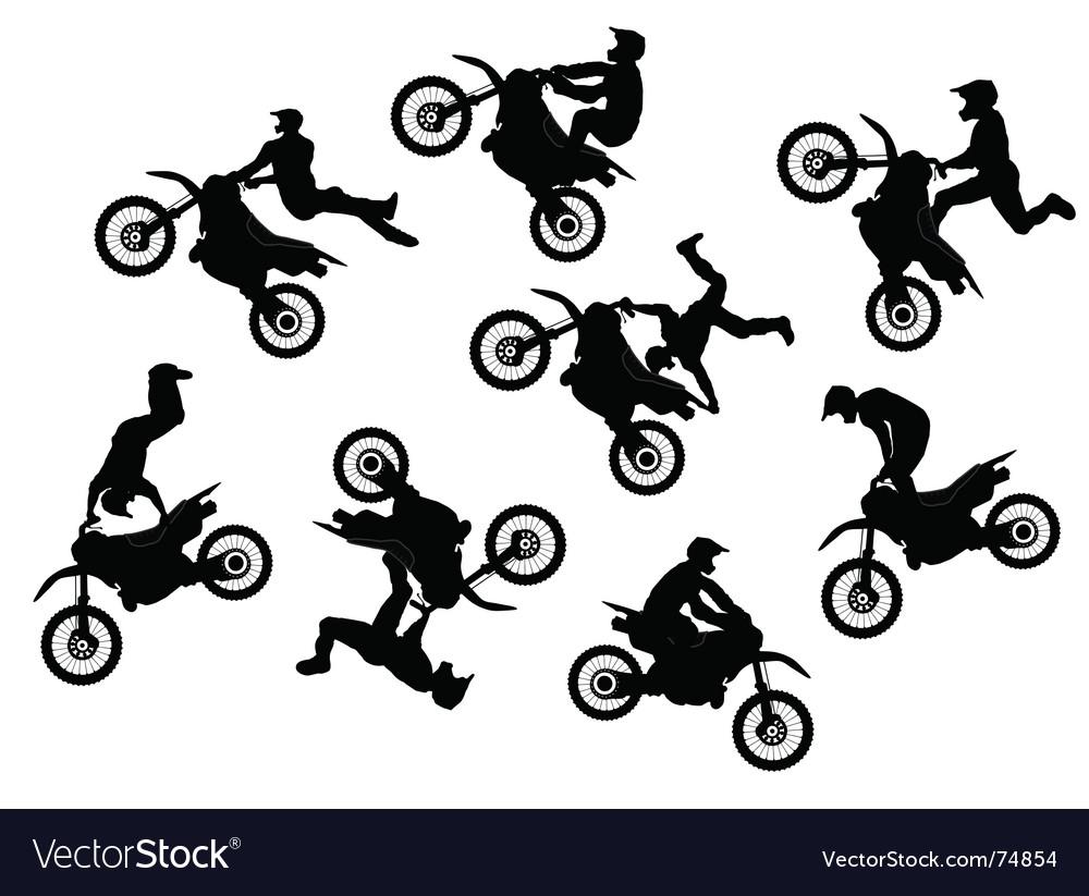 Motocross rider jump vector image