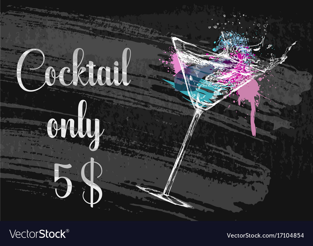 Chalk drawing typography cocktail menu design vector image
