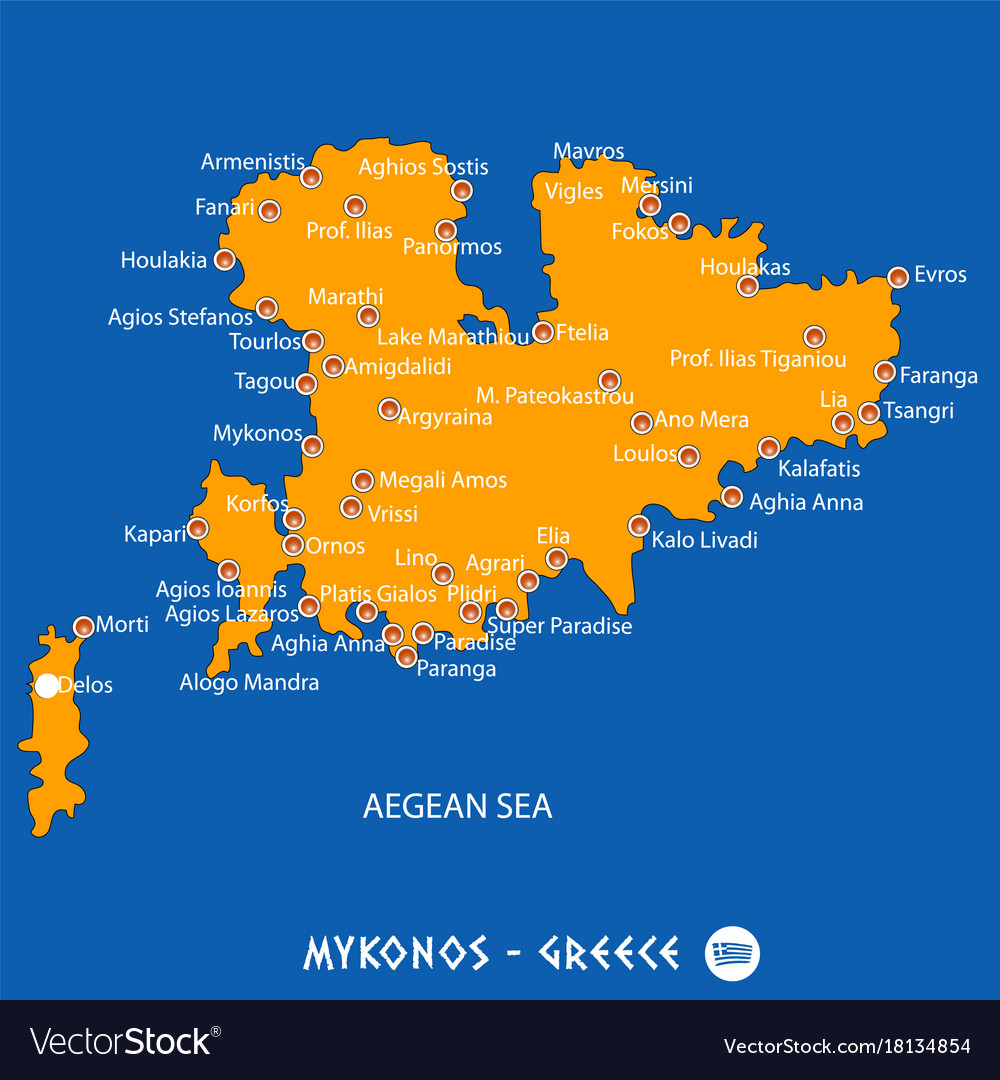 Island of mykonos in greece orange map and blue Vector Image
