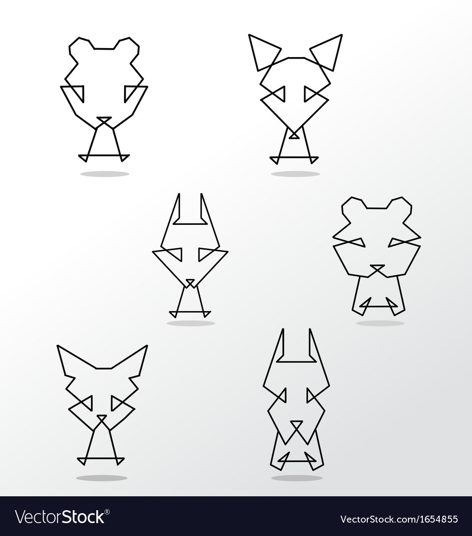 Abstract set of animals vector image