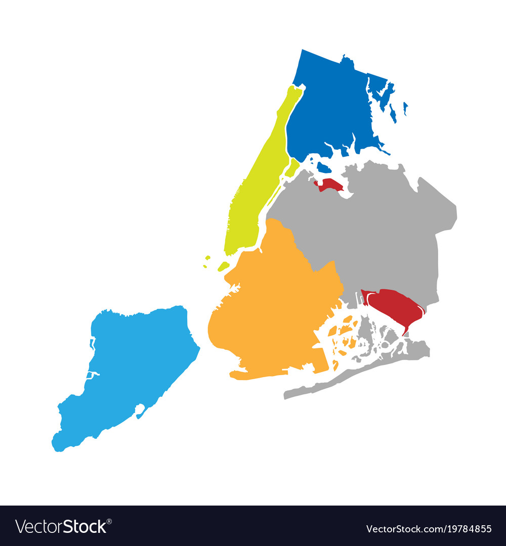 New york boroughs map nyc districts Royalty Free Vector