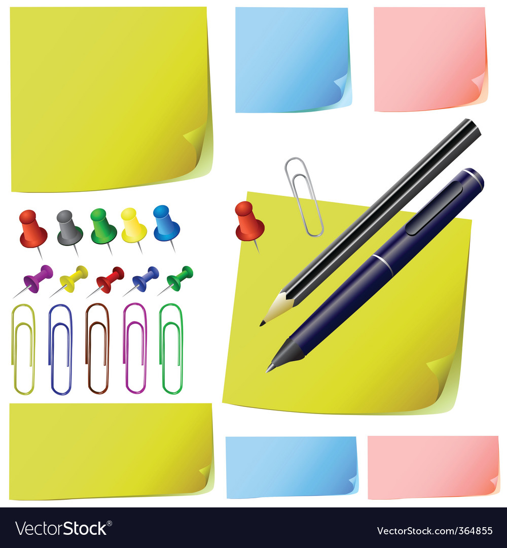 Post it note paper pencil vector image