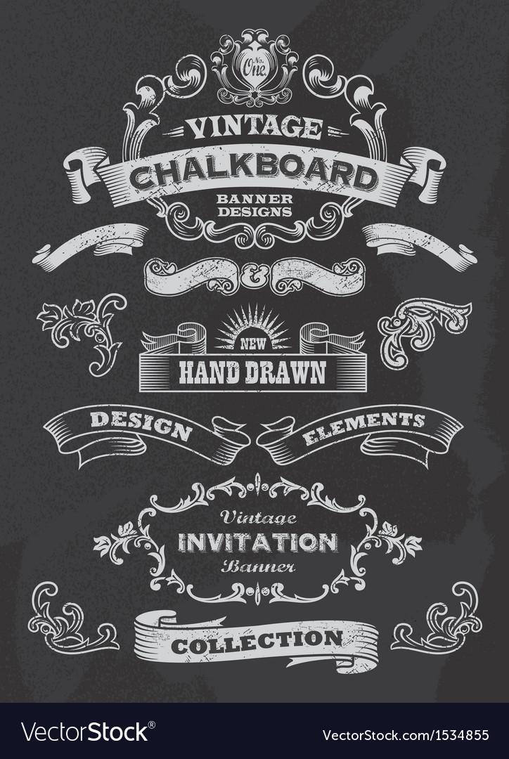 Retro Banner and ribbon blackboard design set vector image