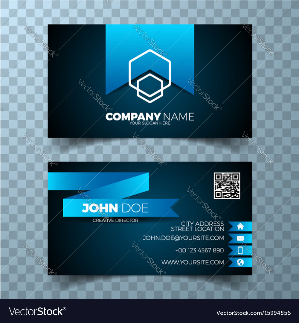 Modern blue business card design template vector image