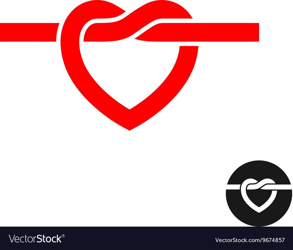 Heart knot silhouette logo Simple red heart rope vector image