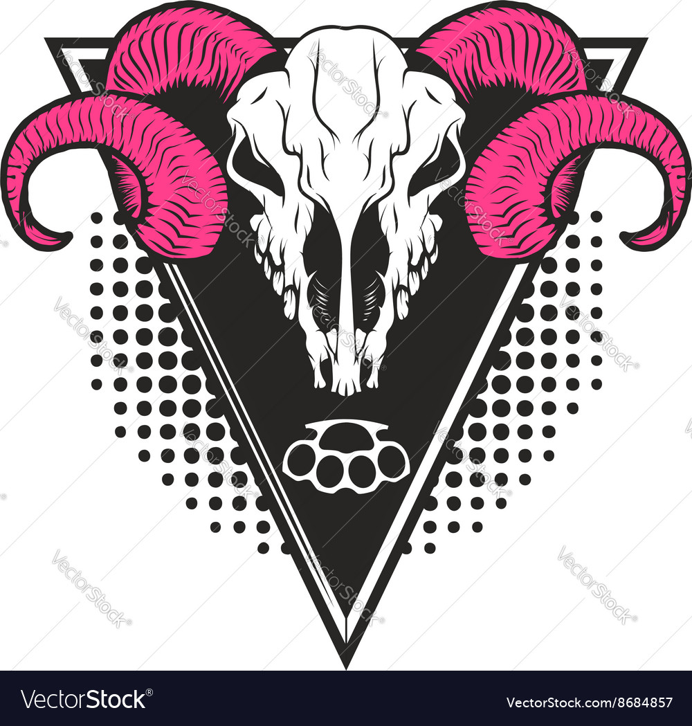 Ram skull on triangle background vector image