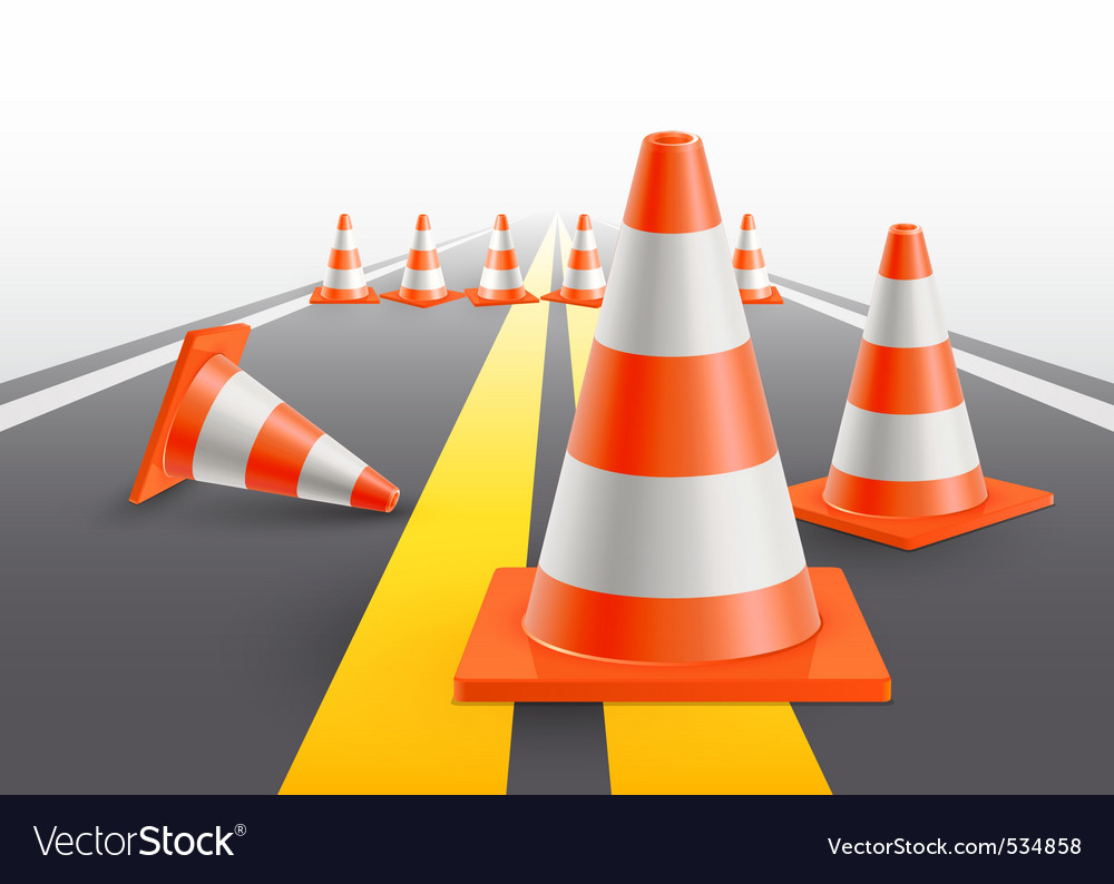 Under construction cones vector image