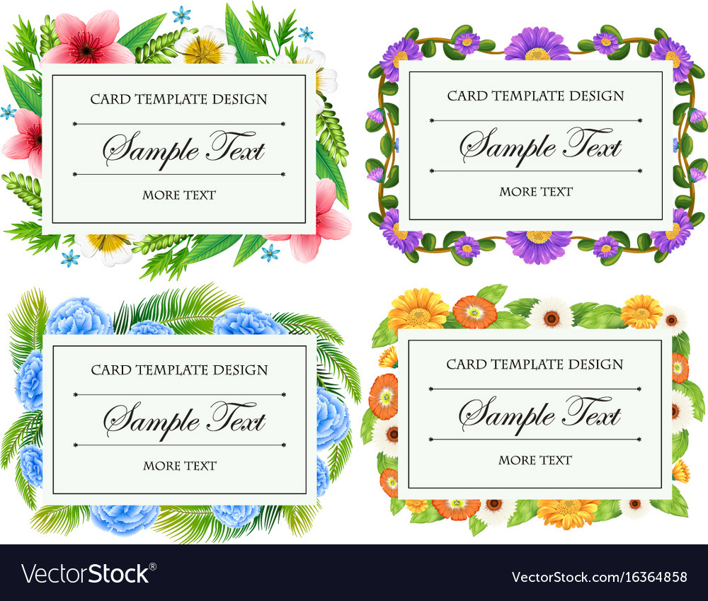 Card template design with flower borders vector image
