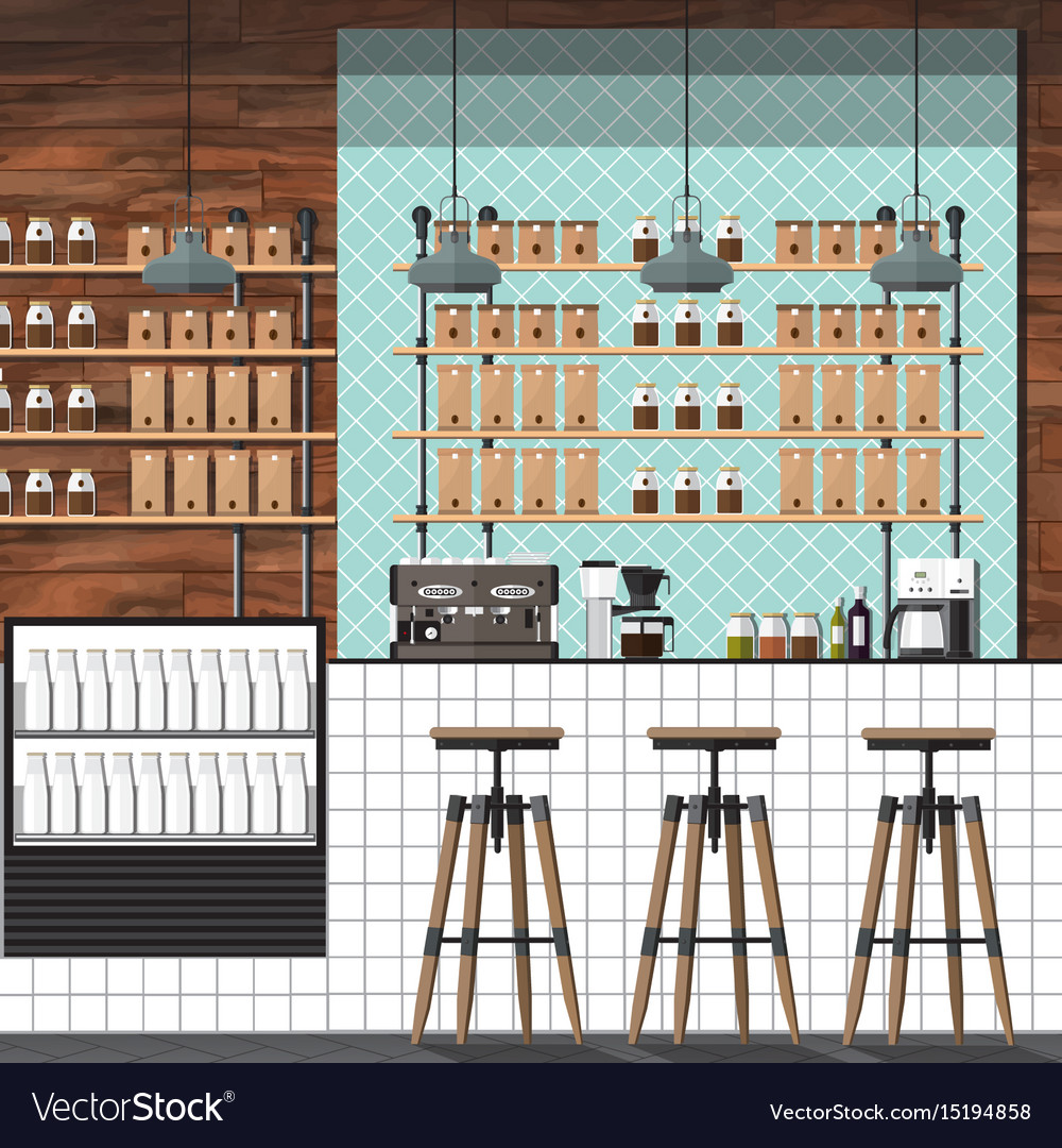 Modern coffee shop vector image