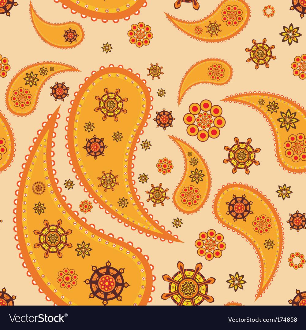 Retro paisley pattern vector image