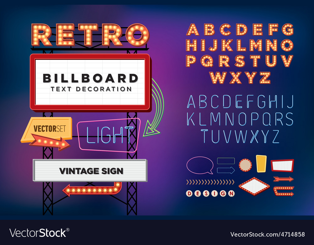 Set Retro neon sign vintage billboard vector image