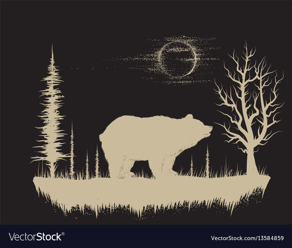 Bear in the strange forest vector image
