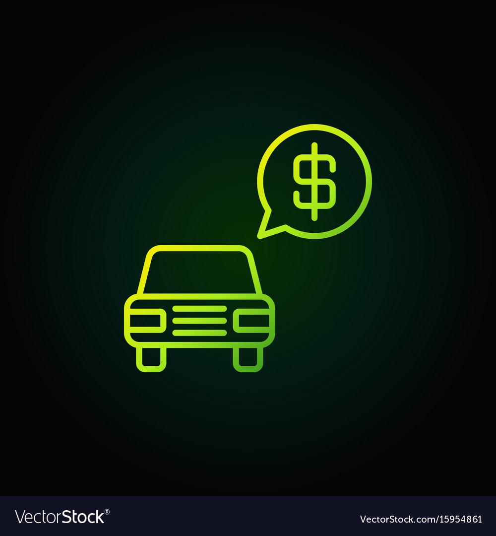 Car dollar price green icon vector image